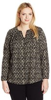 Lucky Brand Women's Plus-Size Ikat Peasant Top
