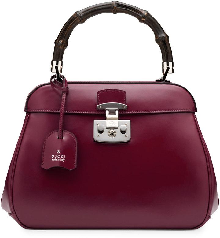 Gucci Lady Lock Leather Medium Top Handle Bag, Wine