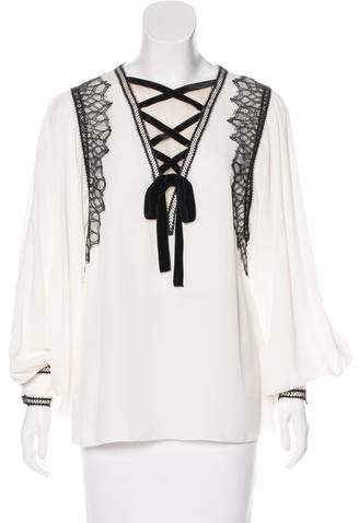 Andrew Gn Lace-Trimmed Silk Blouse