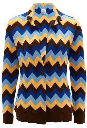 M Missoni Zigzag-knitted Cotton Cardigan - Womens - Blue Multi