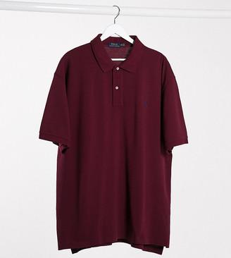 Polo Ralph Lauren Big & Tall player logo pique polo custom regular fit in burgundy