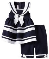 Bonnie Baby Girls Newborn Navy Nautical Pant Set