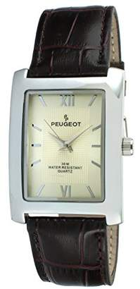Peugeot Men's Rectangular Textured Roman Numeral Dial Classic Dress Wrist Watch with Leather Strap Band