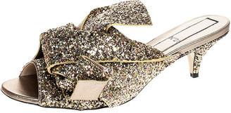 N°21 N21 Gold Coarse Glitter Bow Open Toe Sandals Size 40.5