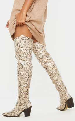PrettyLittleThing Beige Snake Over The Knee Western Heel Point Toe Boot