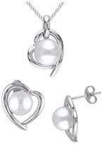 Allura 8.5-9 MM White Freshwater Cultured Pearl and Diamond Heart Earrings and Pendant Set in Sterling Silver