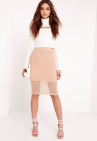 Missguided Mesh Midi Skirt Nude