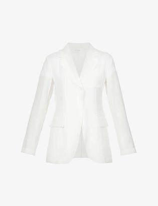Sportmax Single-breasted linen-blend blazer