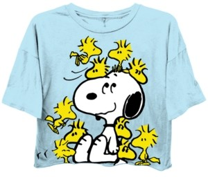 Freeze 24-7 Juniors' Peanuts Exploded Cropped T-Shirt