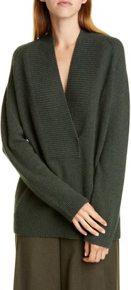 Vince Ribbed Detail Wrap Front Wool & Cashmere Tunic Sweater