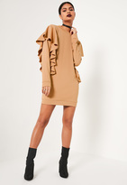 Missguided Nude Frill Sleeve High Neck Sweater Dress