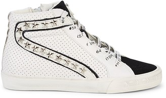 Vintage Havana Star Studded Mixed-Media High-Top Runners