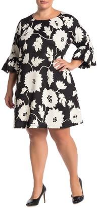 Nina Leonard Jewel Neck High-Tech Crepe Dress (Plus Size)