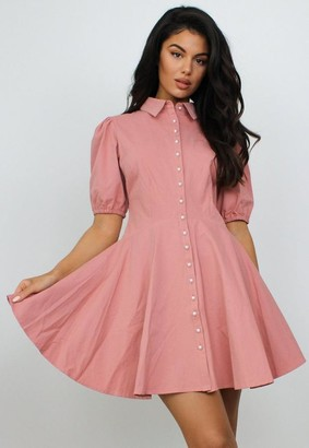 Missguided Blush Pearl Skater Shirt Dress