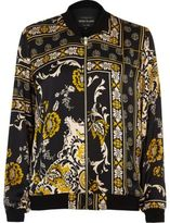 River Island Womens Black print silky bomber jacket