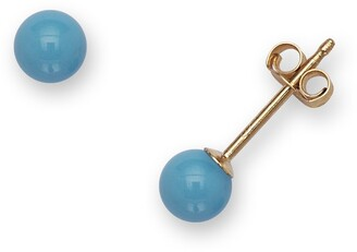 Curata 14k Yellow Gold 4mm Reconstructed Turquoise Ball Stud Earrings