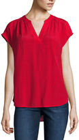 Liz Claiborne Sleeveless Split Crew Neck Woven Blouse