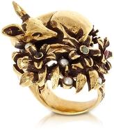 Alcozer & J Fawn Goldtone Brass Ring w/Glass Pearl