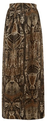 Edward Crutchley Raja-print Silk Skirt - Brown Multi