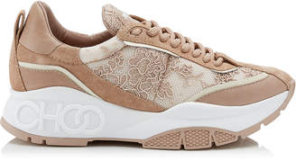 Jimmy Choo RAINE Ballet Pink Mix Floral Lace on Mesh and Leather Trainers