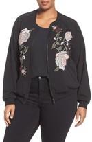 Democracy Plus Size Women's Embroidered Bomber Jacket