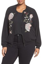 Democracy Plus Size Women's Wit & Wisdom Embroidered Bomber Jacket