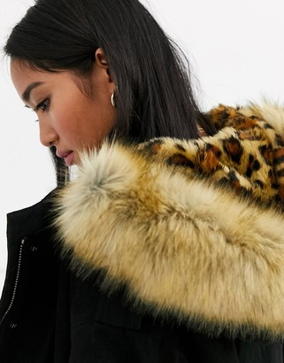 ASOS DESIGN Petite luxe parka with faux fur animal lining in black