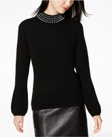 Charter Club Pearl-Embellished Cashmere Sweater, Created for Macy's