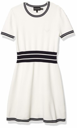 Emporio Armani Women's Short Sleeve Fit and Flare Dress with Scalloped Hem