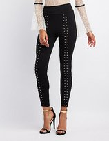 Charlotte Russe Lace-Up High-Rise Leggings