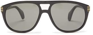 Gucci Aviator Acetate Sunglasses - Womens - Black Grey