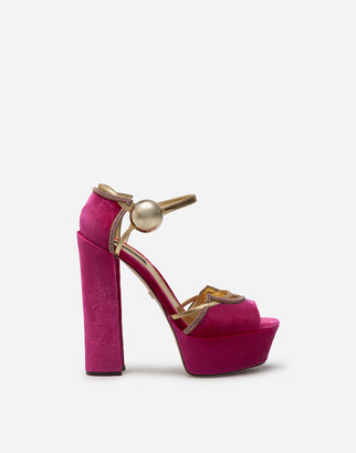 Dolce & Gabbana Velvet And Mordore Platform Sandals
