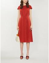 Ted Baker Dark Orange Bellana Crepe Midi Dress, Size: 14