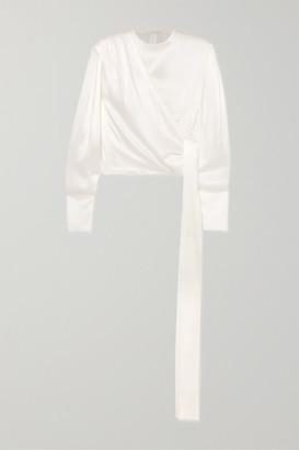 MATÉRIEL Draped Silk-satin Blouse - White