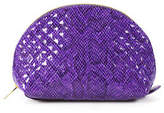 Carol Brodie Purple Quilted Leather Zip Around Small Cosmetic Bag