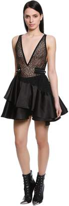 David Koma Ruffled Macrame & Satin Mini Dress