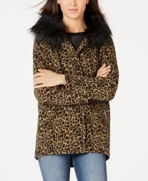 Joujou Jou Jou Juniors' Leopard-Print Faux-Fur-Trim Hooded Jacket