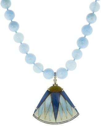 Silvia Furmanovich 18kt yellow gold diamond Marquetry Leaf pendant bead necklace