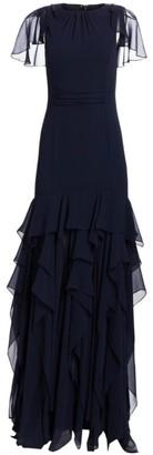 Halston Cape Sleeve Flounce Skirt Gown