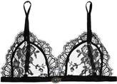 Alexander McQueen Sarabande Embellished Satin-trimmed Lace Bra Top - Black