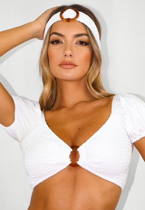 Missguided Petite White Crinkle Milkmaid Bikini Top And Headband Set