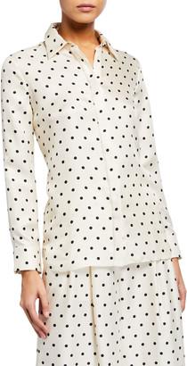 ADAM by Adam Lippes Polka-Dot Silk Twill Menswear Shirt