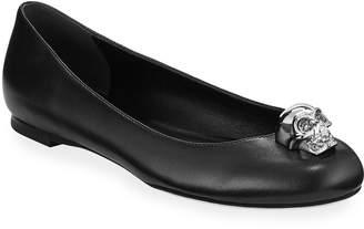 Alexander McQueen Skull Ornamented Leather Ballet Flats, Black/Silver