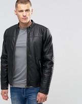 Blend of America Slim Faux Leather Biker Jacket Black