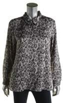 Vince Camuto Womens Chiffon Animal Print Button-Down Top