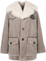 Marc Jacobs corduroy fur-trim coat