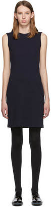 Helmut Lang Navy Jersey Neck Drape Dress