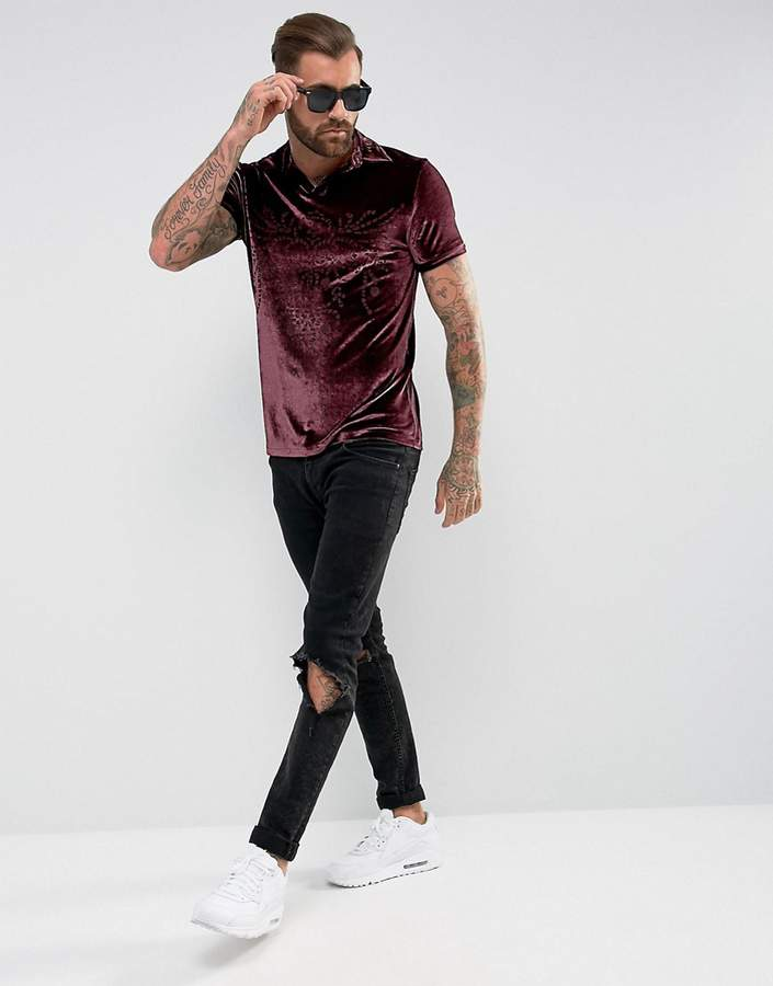 Asos Polo Shirt With Burn Out Design In Velour