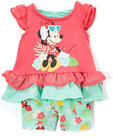 Children's Apparel Network Minnie Mouse Red & Mint Ruffle Tee & Shorts - Infant