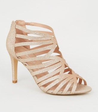New Look Wide Fit Glitter High Vamp Strappy Heels